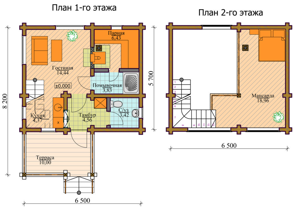 Двухэтажная баня 6х6 м
