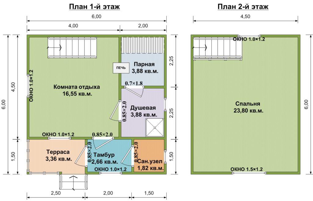 Проект бани 6х6 м с мансардой