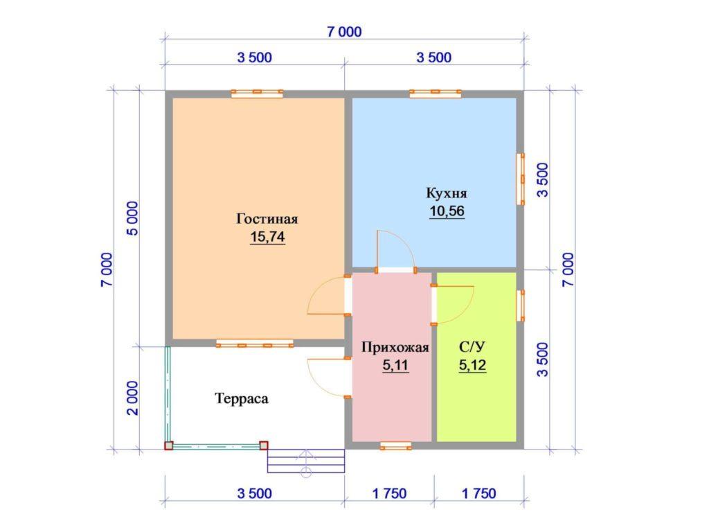 Даже в типовых проектах сруба из бревна 7х7 м возможна свободная планировка.