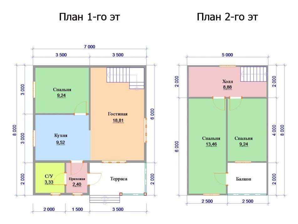 Сруб дома 7х8 2 этажа